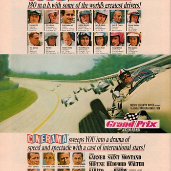 "1966 - MGM Film ""Grand Prix"" Advertisement - Posters and Prints"