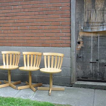 4 Jan Hallberg & Sune Formell 1967 by Edsbyverken of Sweden Mid Century Danish Modern Scandinavian Swivel Birch Chairs