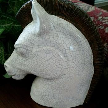 Gene Lodi Horse Bust # 371 Mid Century California Pottery c1950