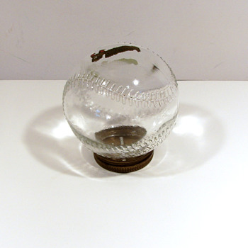 Antique Glass Baseball Candy Container-Bank