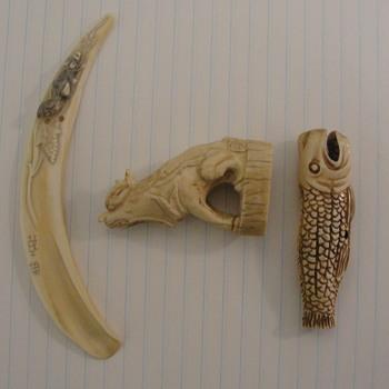 Ivory Netsukes and Marrow Spoon