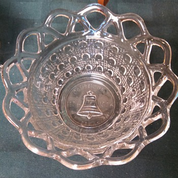 Imperial lace edge&cane Commemorative Bellaire, Ohio Centennial bowl - Glassware