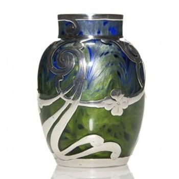 "Loetz ""Titania Genre 2534"" Vase with Silver Overlay. 4"" Tall. PN II-2837 Circa 1905 - Art Glass"