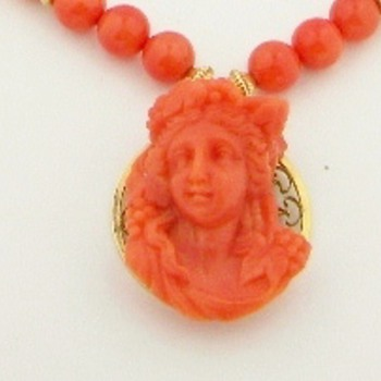 Antique Georgian Carved Coral Cameo Bead 12k Necklace   - Fine Jewelry