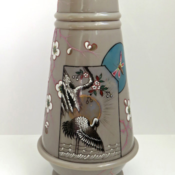 Smith Bros. Opaline Vase with Crane c.1885 - Art Glass