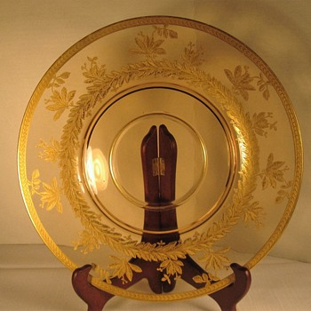 Amber Glass Plate with Gold Etching