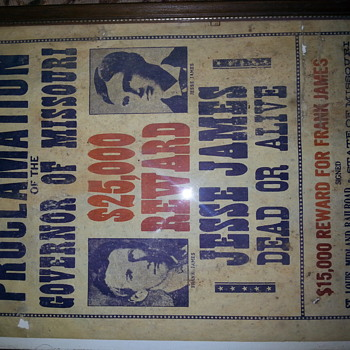 Vintage Jesse And Frank James  Wanted Poster $25,000 Reward