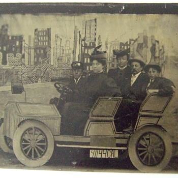 "Tintype of touring ""car"" after the San Francisco Earthquake"