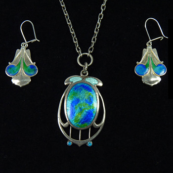 Art Nouveau Silver & Enamel Pendant and Earrings by James Fenton of Birmingham