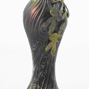 Art Nouveau Bohemian Spiraloptisch Petrol Iridescent Vase