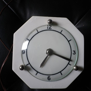 Clyde electric powered made in Scotland white dial faced art deco, early vintage clock