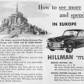 1953 - Hillman Minx Automobile Advertisement - Advertising