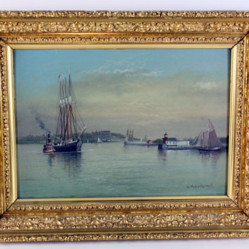G.M. Hathaway Oil on Board of Portland, ME Harbor - Folk Art