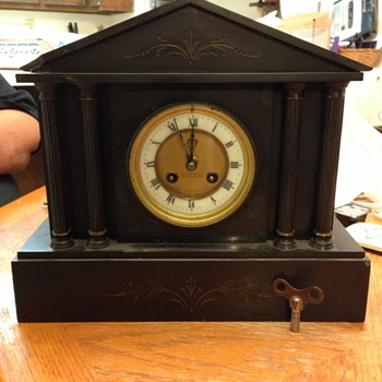 Black Marble Mantle Clock Gaydon and Sons - Clocks