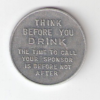 Vintage Alcoholic's Anonymous Token - Tin - Advertising