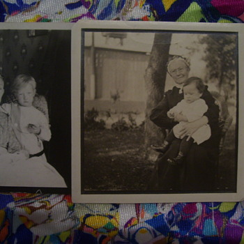 TWO VERY VINTAGE PHOTOS OF GREAT-GREAT GRANDMA'S HOLDING BABIES--SO SWEET!