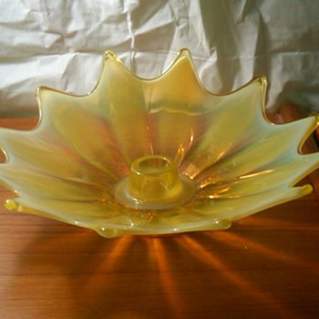 Fostoria Heirloom Vaseline Opalescent Candle Holder