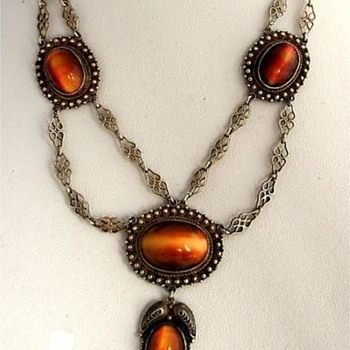 Victorian Festoon Red Tigers Eye Necklace
