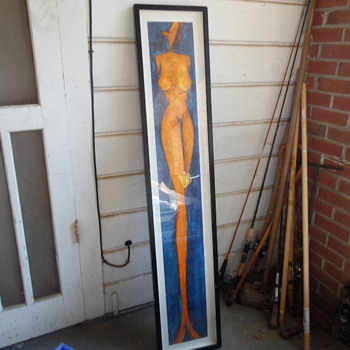 Vintage Very Long Nude Abstract Nude Woman Print - Visual Art