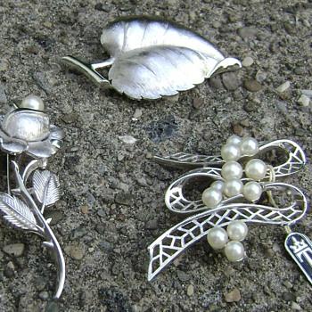Vintage Trifari Silver Brooches