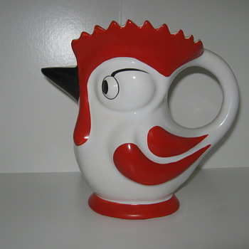 Ditmar Urbach Rooster Milk Pitcher 1930&quot;s Czechoslovakia Hand Painted Pottery