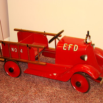 Dads  pedal  firetruck   Elgin Fire Dept.