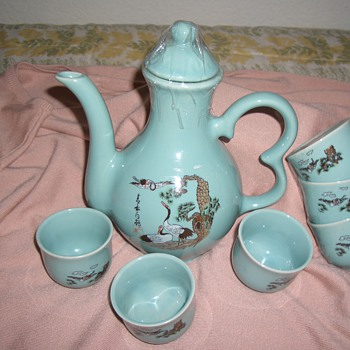 Found a beautiful Aqua Asia  Tea Set