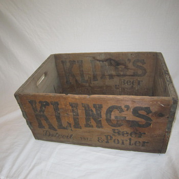 1912 Original Kling's Detroit Michigan Beer Porter Bottle Wood Shipping Crate