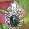 Art Nouveau Silver and Chrysopase pendant