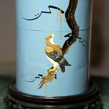 Large Tin with Beautiful Falcon Scene - from Japan