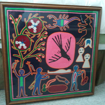 Huichol Yarn Painting - Folk Art