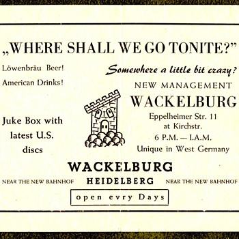 Bar flier catering to US Soldiers, Germany - Military and Wartime