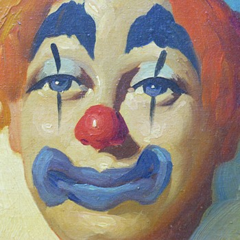 "Oil painting on canvas""Clown- 2""Moulier"" Early 1940-50 - Visual Art"