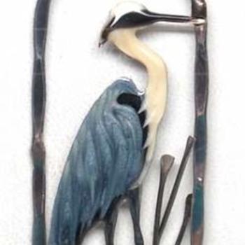 enameled sterling blue heron pendant