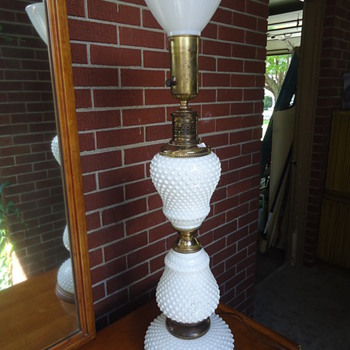 Hobnail milk glass lamps.