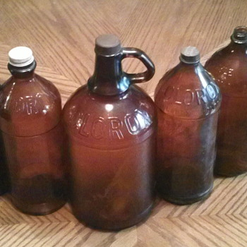 Old brown Clorox bottles - Bottles