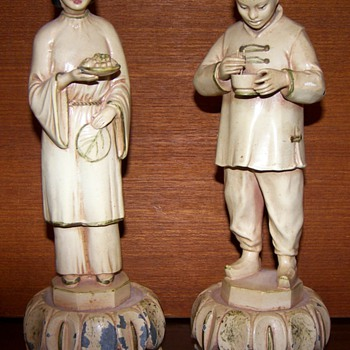 Four Chinese Figures, Wood and Enamel