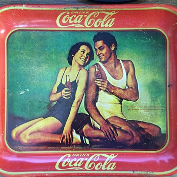 1934 Coca Cola Tray - Maureen O'Sullivan and Johnny Weissmuller