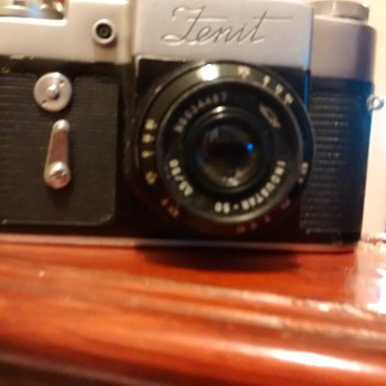 Zenit 3m Engraved Zenit name above lens No66013002 USSR 35mm camera with case, and Industrar 50 lens mint with case.  - Cameras