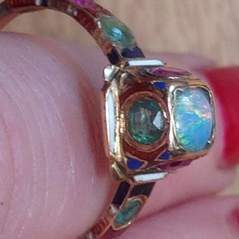 Enamel, opal, ruby and emerald old gold ring