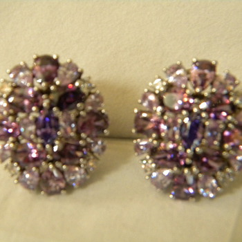 Vintage '80's ? Sterling Silver and Amethyst Earrings