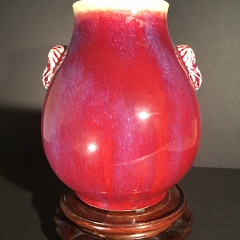 18/19th century Chinese Rouge Flambé porcelain vase with elephant handles Qing