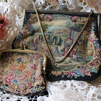 Art Deco period, Glamorous ladies petit-point tapestry purse & change purse set  - Bags