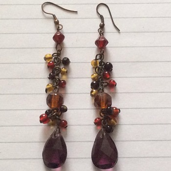 Vintage drop glass and amethyst earrings