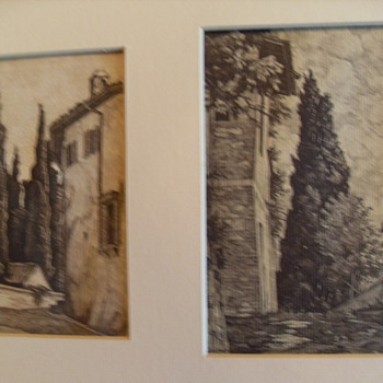 Original 20th Century Italian Etching - Posters and Prints