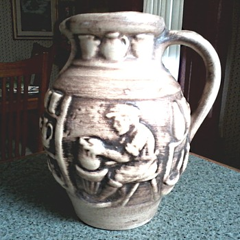 West German Pottery Pitcher /Pottery Shop Relief Design/ Unknown Maker and Circa 1960-70