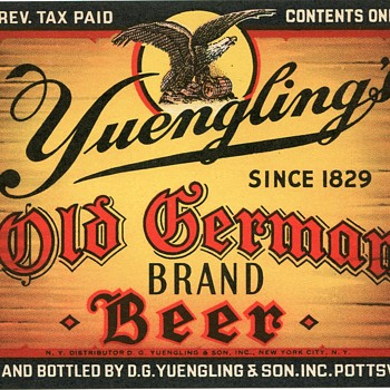 1938 Yuengling Old German Brand Beer Label.....