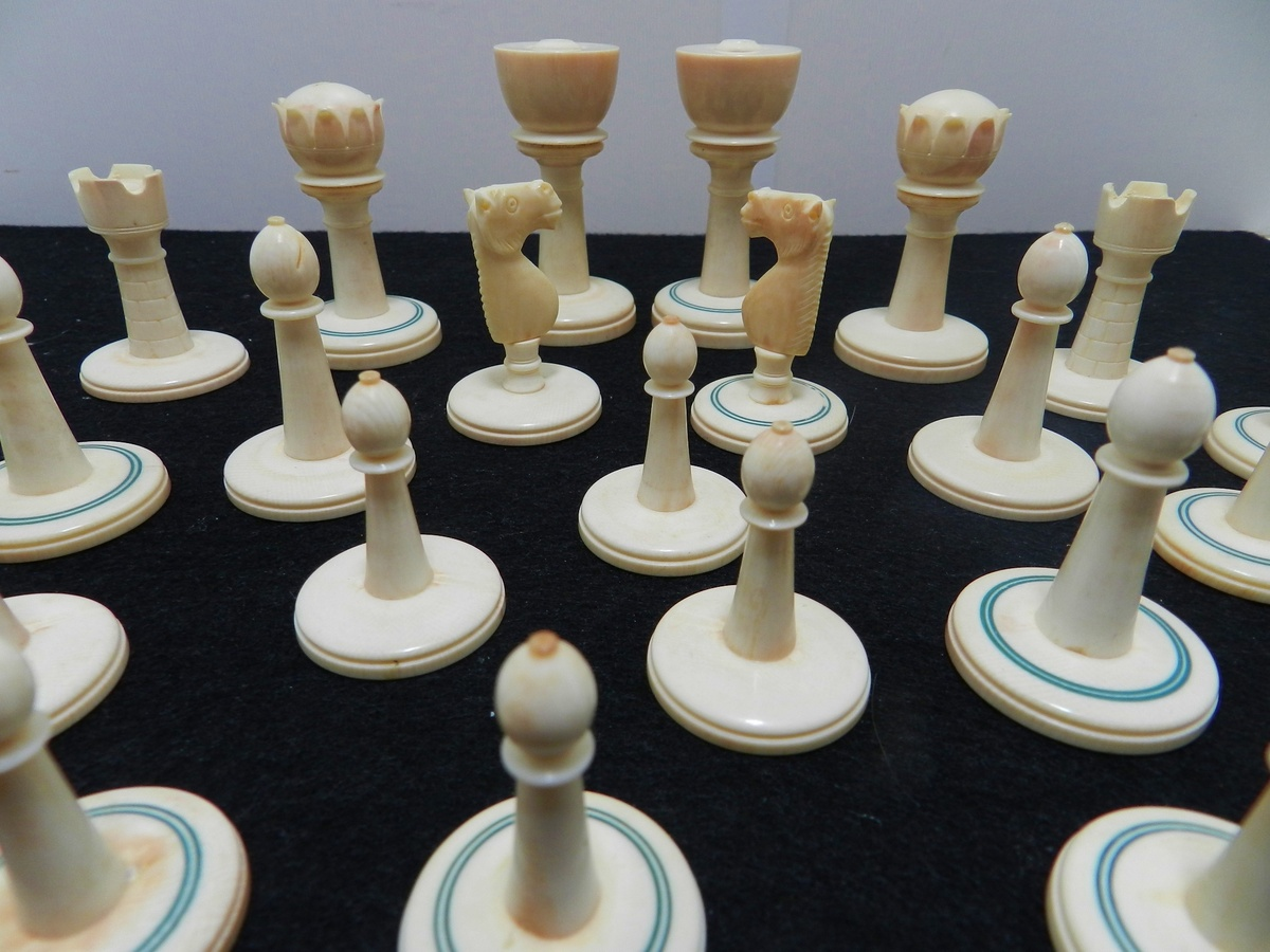 Antique ivory chess set origins age collectors weekly - Collectible chess sets ...