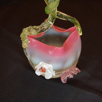 Victorian art glass baskets with applied flowers - Art Glass