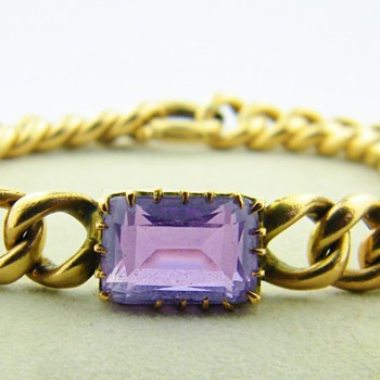 Vintage Deco Emerald Cut Amethyst 14k Rose Gold Bracelet 23.8gr - Fine Jewelry